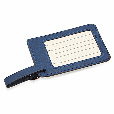 Full Name Monogram Navy Blue Luggage Tag
