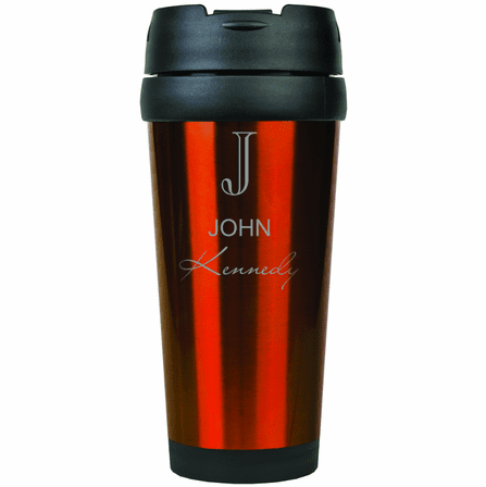 Full Name Monogram Orange Travel Coffee Mug