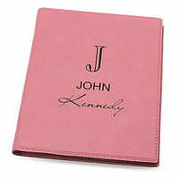 Full Name Monogram Pink Leatherette Mini Portfolio