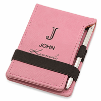 Full Name Monogram Pink Leatherette Notepad & Pen