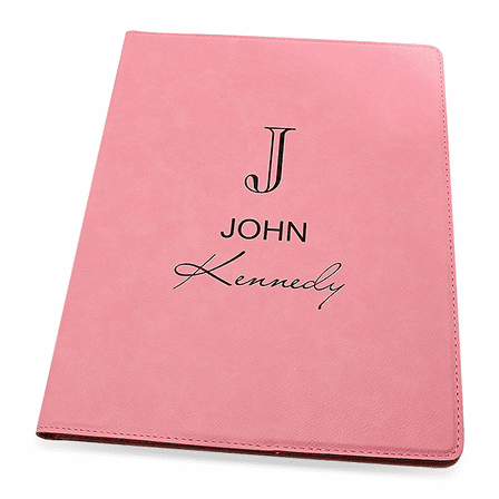 Full Name Monogram Pink Leatherette Portfolio