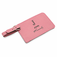Full Name Monogram Pink Luggage Tag