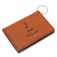 Full Name Monogram Rawhide ID Holder & Keychain