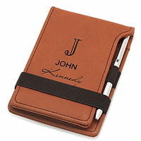 Full Name Monogram Rawhide Leatherette Notepad & Pen