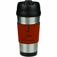 Full Name Monogram Rawhide LeatheretteTravel Mug