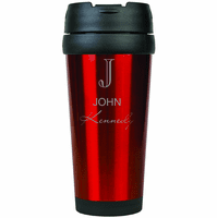 Full Name Monogram Red Travel Coffee Mug