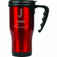 Full Name Monogram Red Travel Coffee Mug With Handle