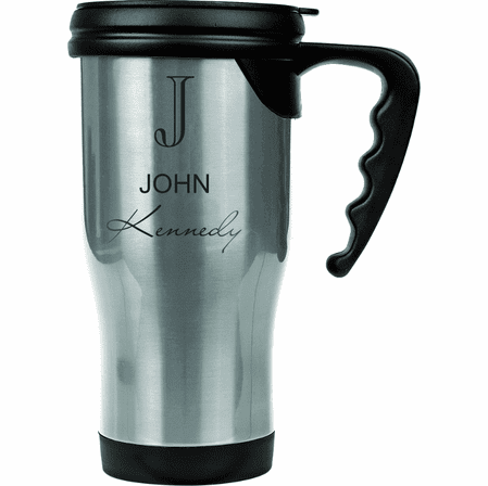 Full Name Monogram Steel Travel Coffee Mug With Handle
