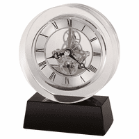 Fusion Round Crystal Table Clock by Howard Miller