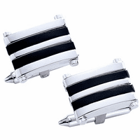 Gallery Collection Sterling Silver & Onyx Cufflinks