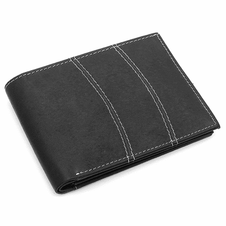 Genuine Leather Bifold Wallet with White Stitching - Discontinued