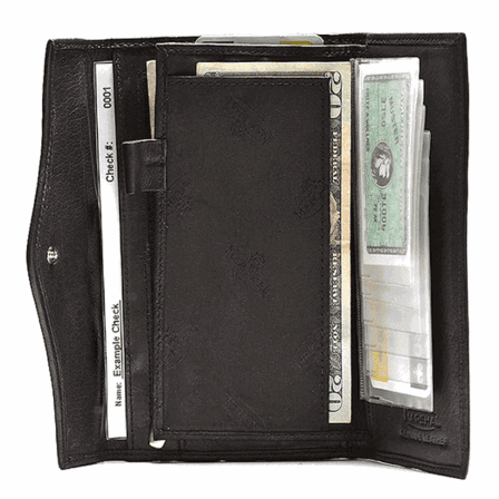 Genuine Leather Snap Closure Checkbook  Wallet - Discontinued