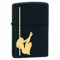Girl On Pole Black Matte  Zippo Lighter - ID# 24892