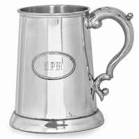 Glass Bottom Pewter Tankard with Engraving Shield