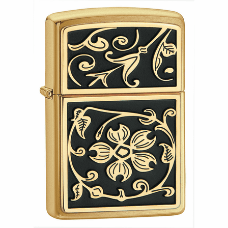 Gold Floral Flush Emblem Brushed Brass Zippo Lighter - ID# 20903