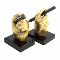 Gold Hand Holding a Cigar Bookends