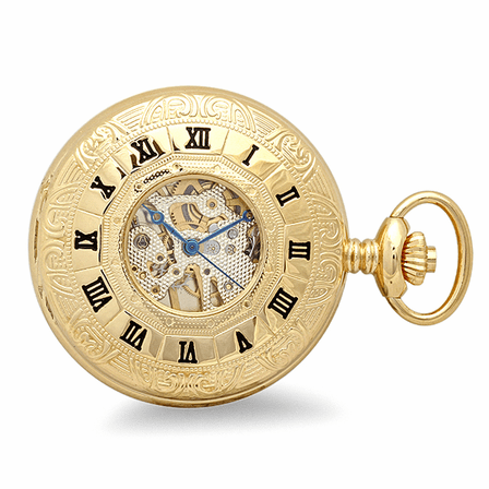 Gold Mechanical Charles Hubert Pocket Watch & Chain #3803 - Discontinued