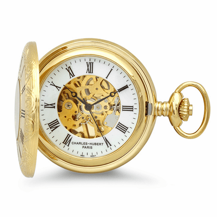 Gold Mechanical Executive Charles Hubert Pocket Watch and Chain #3558