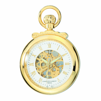 Gold Open-Faced Charles Hubert Pocket Watch & Chain #3903-G