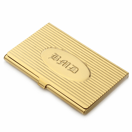 Gold Plated Business Card Case with Oval Engraving Plate
