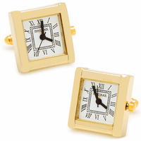 Gold Plated Square Working Watch Cufflinks - Discontinued