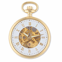 Gold Tone Mechanical Movement Pocket Watch with Skeleton Dial & Matching Chain by Jules Jurgensen - Discontinued