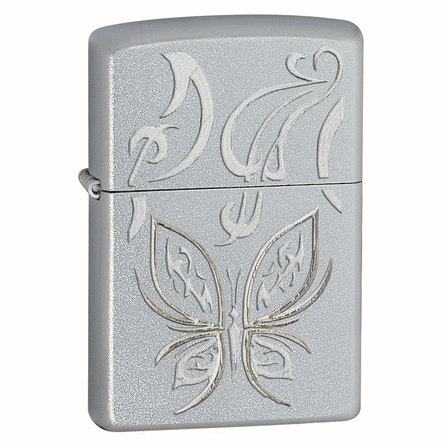 Golden Butterfly Satin Chrome Zippo Lighter - ID# 24339