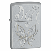 Golden Butterfly Satin Chrome Zippo Lighter - Discontinued