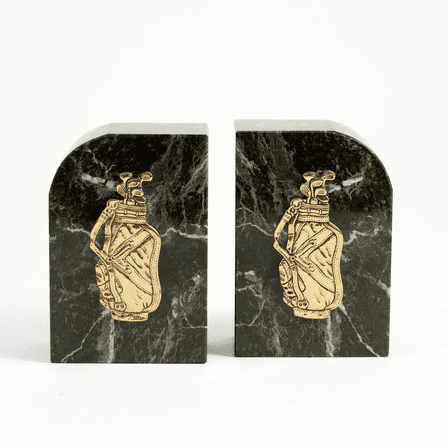 Golf Bag Green Marble Bookends - Discontinued