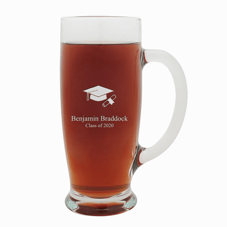 Graduate Theme Personalized 18 Ounce Pilsner Glass with Handle