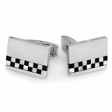 Grand Prix Collection Stainless Steel Personalized Cufflinks