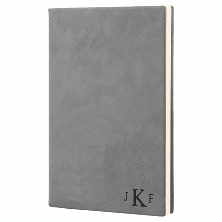 Gray Journal with Black Satin Bookmark with Roman Monogram