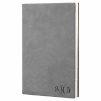 Gray Journal with Black Satin Bookmark with Script Monogram