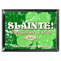 Green Clover Sláinte Pub Sign - Free Personalization