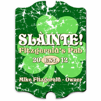 Green Clover Vintage Pub Sign - Free Personalization