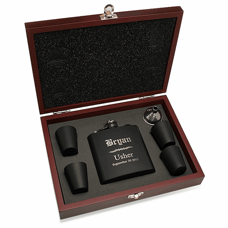 Groomsman's Personalized Black Flask With Box