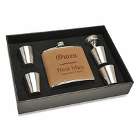 Groomsman's Personalized Leather Flask Set