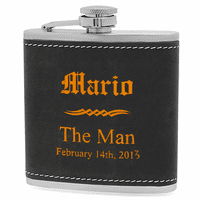 Groomsmen Gifts Black & Orange Flask