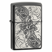 Gunstock Filigree Ebony Zippo Lighter - ID# 28324 - Discontinued