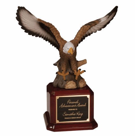 Hand Painted Soaring Eagle With Rosewood Base Award
