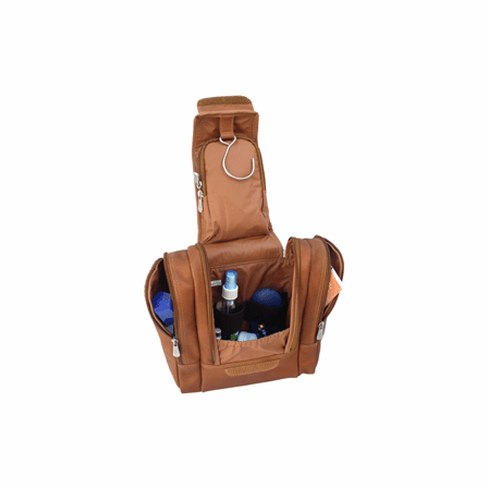 Hanging Leather Travel Toiletry Kit