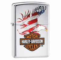 Harley Davidson Eagle and Bar & Shield High Polish Chrome Zippo Lighter - ID# 28082