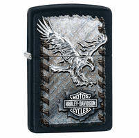 Harley Davidson Soaring Eagle Black Matte Zippo Lighter - ID# 28485