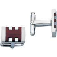 Havana Collection Stainless Steel, Rosewood & Mother-of-Pearl Cufflinks