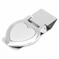 Heart Shaped Engraved Hinged Money Clip