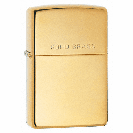 High Polish Brass with Solid Brass Engraved Zippo Lighter - ID# 254