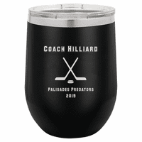 Hockey Coach's Black Insulated Stemless Wine Glass