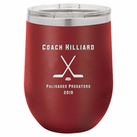 Hockey Coach's Maroon Insulated Stemless Wine Glass