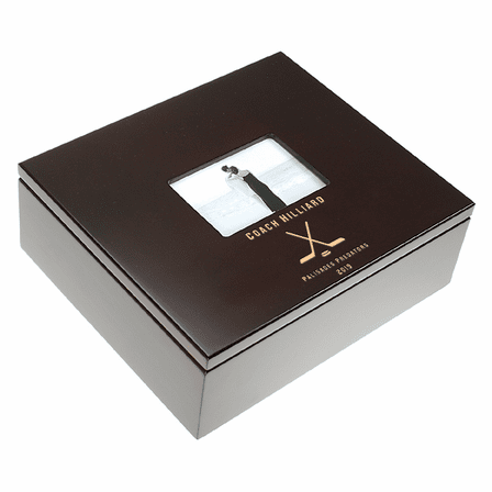 Hockey Coach's Personalized Keepsake Box With Picture Frame Lid