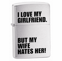I Love My Girlfriend Brushed Chrome Zippo Lighter - ID# 24522 - Discontinued